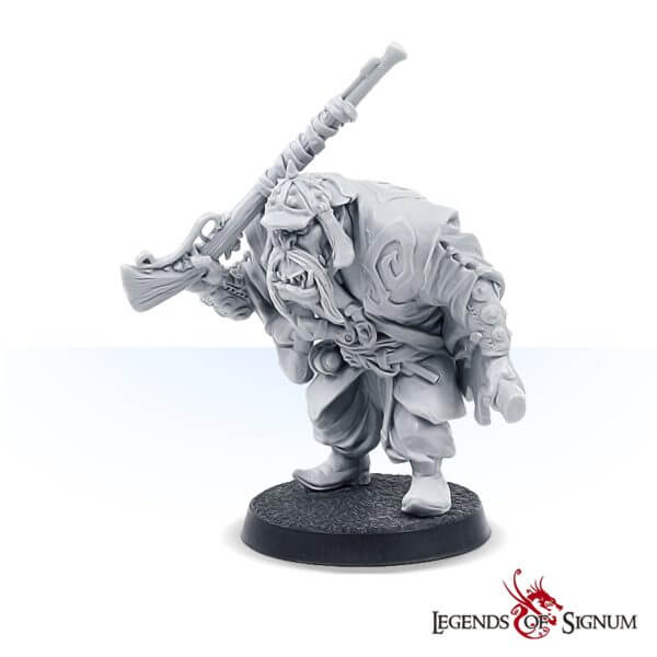 The orc soldier with a rifle high-quality resin miniature